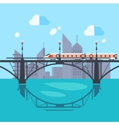 Urban Landscape and Train on Railway vector image