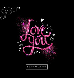 Valentine card with shimmery letters vector