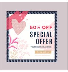 Valentine days sale instagram post vector