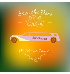 Wedding car over abstract colorful blurred vector