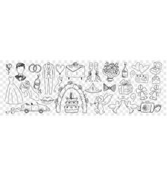 wedding marriage accessories doodle set vector image
