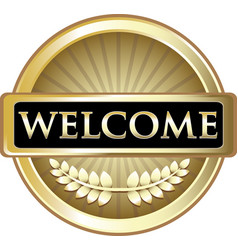 welcome gold icon vector image