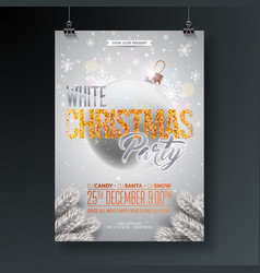 white christmas party flyer with vector image vector image
