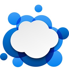 White paper cloud over blue bubbles vector image