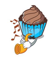 with trumpet chocolate cupcake mascot cartoon vector image