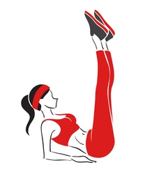 Woman practises fitness - symbolical emblem vector