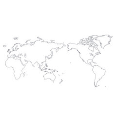 World map outline contour silhouette - asia vector