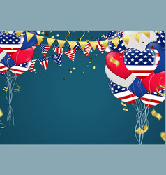 4th july usa independence day balloons triangular vector image