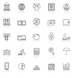 Banking line icons with reflect on white vector image vector image