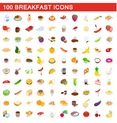 100 breakfast icons set isometric 3d style vector image