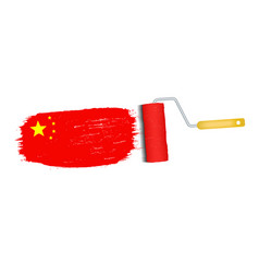 brush stroke with china national flag isolated on vector image