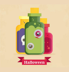 flat icon on background halloween potion bottle vector image