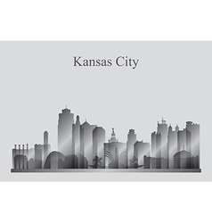 Kansas City skyline silhouette in grayscale vector image vector image