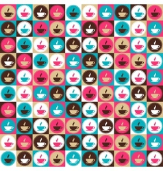 Seamless retro coffee and tea pattern vector image vector image