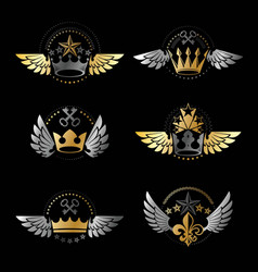 royal crowns and vintage stars emblems set vector image vector image