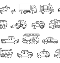 Seamless pattern cars Black and white background vector image