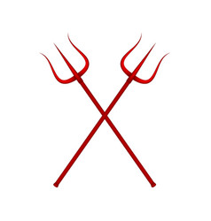 two crossed tridents in red design vector image