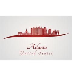 Atlanta V2 skyline in red vector image vector image