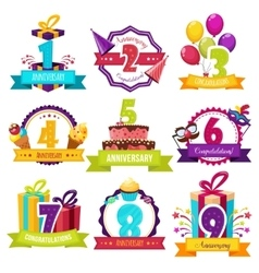Birthday Party Colorful Emblems vector image vector image