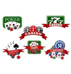 Casino jackpot and poker gambling icons vector image vector image
