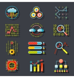 Data Analytic Web Site Server Icons on Stylish vector image vector image