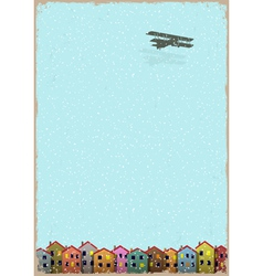 Paper little town with aeroplane winter vector image