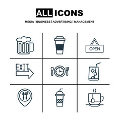 set of 9 eating icons includes board ale vector image