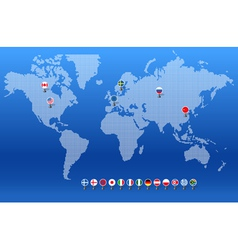 World map with set of different countries flags vector image vector image