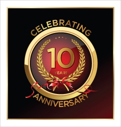10 years anniversary label vector image