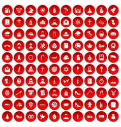 100 church icons set red vector