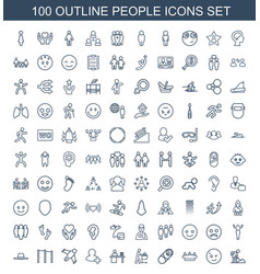 100 people icons vector