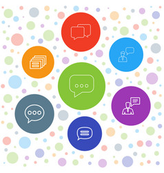 7 chatting icons vector image