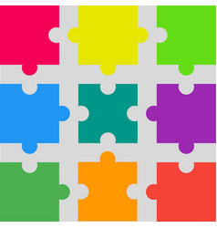 9 colorful puzzle pieces jigsaw puzzles marketing vector