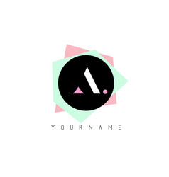 a geometric shapes logo design with pastel colors vector image