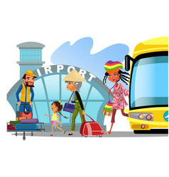 airport transfer public transport like bus happy vector image