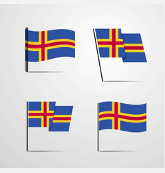 Aland waving flag set design vector