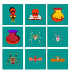 assembly flat halloween monster spider book skull vector image