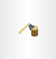 axe chopping wood flat icon vector image