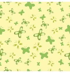 Baby pattern with green butterflies vector image
