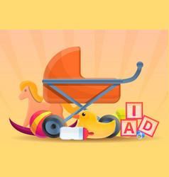 baby pram toys concept banner cartoon style vector image