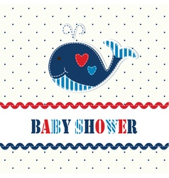 Baby shower with cute whale vector