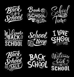 Back to school chalk lettering on blackboard vector