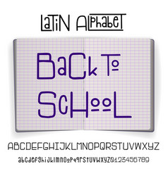 back to school - font banner latin alphabet for vector image
