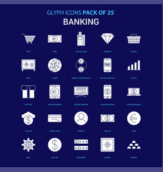 banking white icon over blue background 25 icon vector image