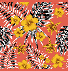 black white tropical leaves yellow flowers red vector image