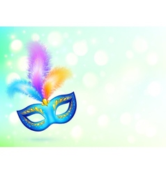 Blue carnival mask with colorful feathers banner vector image
