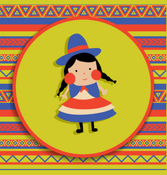 bolivian girl vector image