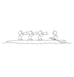 Cartoon of four men or businessmen on boat one vector