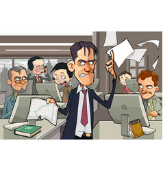 Cartoon office full of people working at computers vector