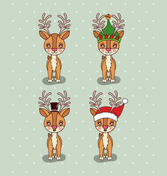 christmas card with set of reindeers with vector image
